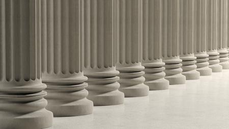 hilera: Pilares antiguos en una fila en el suelo de mármol.