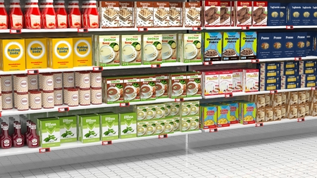 merchandise mart: Supermarket shelves full of various products. Stock Photo