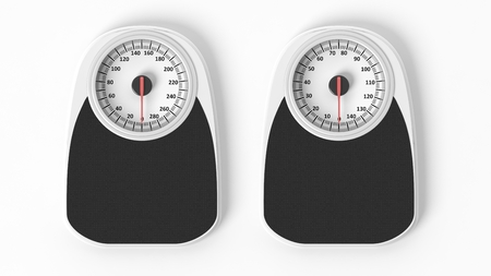 kilos: Two bathroom scales in pounds and kilos, isolated on white background.