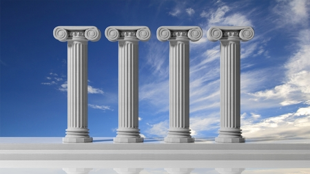 columns: Four ancient pillars with blue sky background.