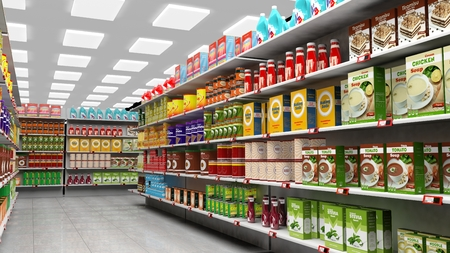 merchandise mart: Supermarket interior with shelves full of various products.