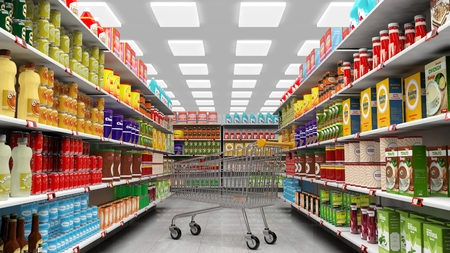 merchandise mart: Supermarket interior with shelves full of various products and empty trolley basket