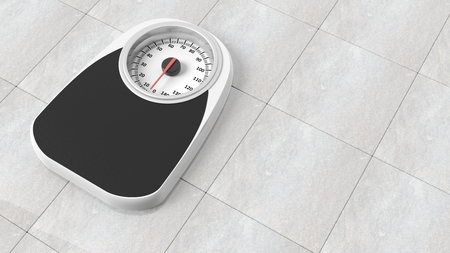kilograms: Bathroom scale in kilograms, on bathroom floor Stock Photo