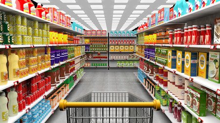Supermarket interior with shelves full of various products and empty trolley basket Stock Photo - 50948328