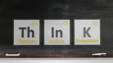 mental activity: Periodic table of elements symbols used to form word Think, on blackboard