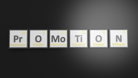 comerce: Periodic table of elements symbols used to form word Promotion, isolated on black