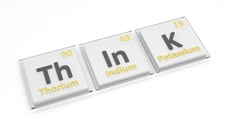 mental activity: Periodic table of elements symbols used to form word Think, isolated on white.