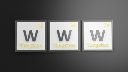 word www: Periodic table of elements symbols used to form word WWW, isolated on black