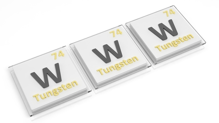 word www: Periodic table of elements symbols used to form word WWW, isolated on white.