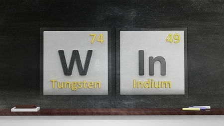 acquire: Periodic table of elements symbols used to form word Win, on blackboard