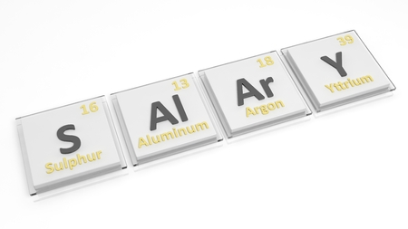 salaries: Periodic table of elements symbols used to form word Salary, isolated on white. Stock Photo