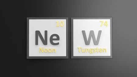 mendeleev: Periodic table of elements symbols used to form word New, isolated on black