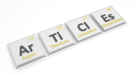 articles: Periodic table of elements symbols used to form word Articles, isolated on white.