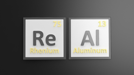 actual: Periodic table of elements symbols used to form word Real, isolated on black