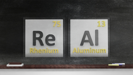 actual: Periodic table of elements symbols used to form word Real, on blackboard Stock Photo