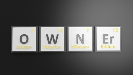 owner: Periodic table of elements symbols used to form word Owner, isolated on black Stock Photo