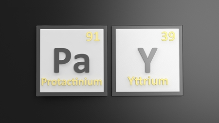 mendeleev: Periodic table of elements symbols used to form word Pay, isolated on black Stock Photo