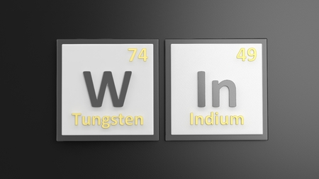 victorious: Periodic table of elements symbols used to form word Win, isolated on black Stock Photo