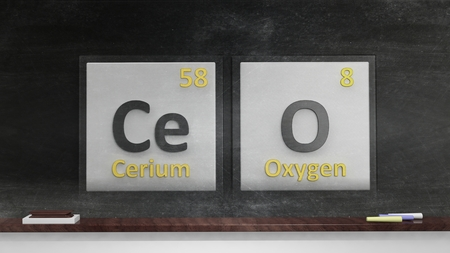 ceo: Periodic table of elements symbols used to form word CEO, on blackboard