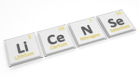 grant: Periodic table of elements symbols used to form word License, isolated on white. Stock Photo