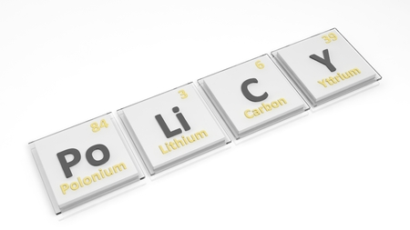 education policy: Periodic table of elements symbols used to form word Policy, isolated on white.