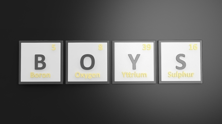 black boys: Periodic table of elements symbols used to form word Boys, isolated on black Stock Photo