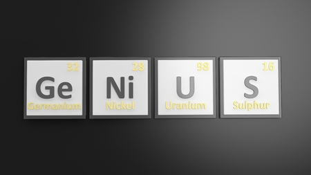 mendeleev: Periodic table of elements symbols used to form word Genius, isolated on black