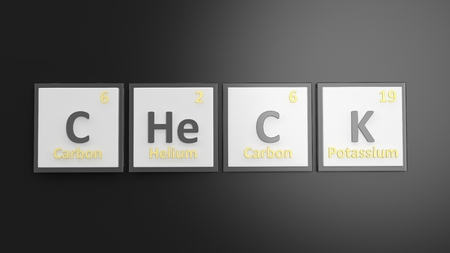 school bills: Periodic table of elements symbols used to form word Check, isolated on black Stock Photo