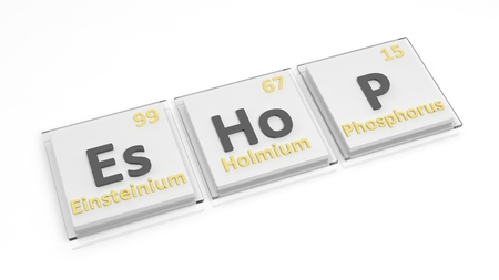 eshop: Periodic table of elements symbols used to form word Eshop, isolated on white. Stock Photo