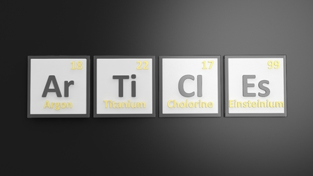 articles: Periodic table of elements symbols used to form word Articles, isolated on black