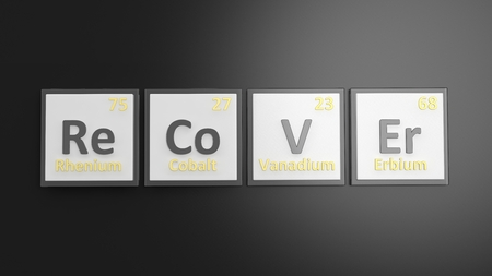 regain: Periodic table of elements symbols used to form word Recover, isolated on black