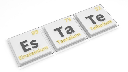 mendeleev: Periodic table of elements symbols used to form word Estate, isolated on white.