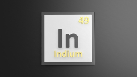 indium: Periodic table of elements symbols used to form word In, isolated on black