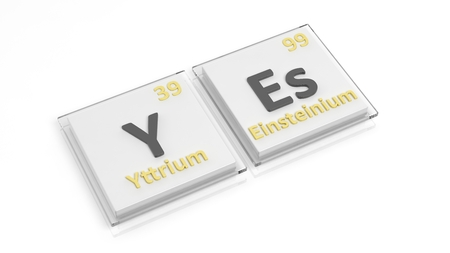 affirmative: Periodic table of elements symbols used to form word Yes, isolated on white.