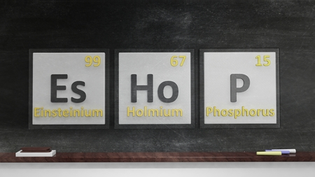 eshop: Periodic table of elements symbols used to form word Eshop, on blackboard Stock Photo