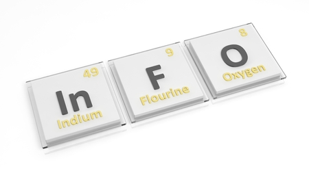 atomic number: Periodic table of elements symbols used to form word Info, isolated on white Stock Photo