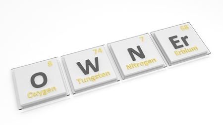 owner: Periodic table of elements symbols used to form word Owner, isolated on white. Stock Photo