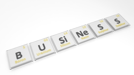 mendeleev: Periodic table of elements symbols used to form word Business, isolated on white.