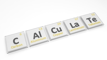 calculate: Periodic table of elements symbols used to form word Calculate, isolated on white.
