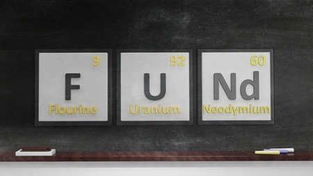 fund: Periodic table of elements symbols used to form word Fund, on blackboard
