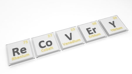regain: Periodic table of elements symbols used to form word Recovery, isolated on white.