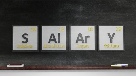 salary: Periodic table of elements symbols used to form word Salary, isolated on blackboard
