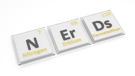 antisocial: Periodic table of elements symbols used to form word Nerds, isolated on white.