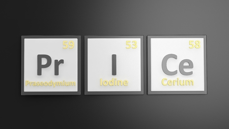 mendeleev: Periodic table of elements symbols used to form word Price, isolated on black