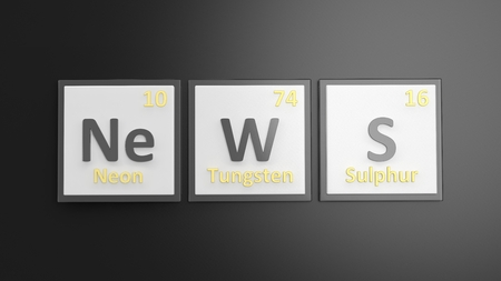scientific: Periodic table of elements symbols used to form word News, isolated on black