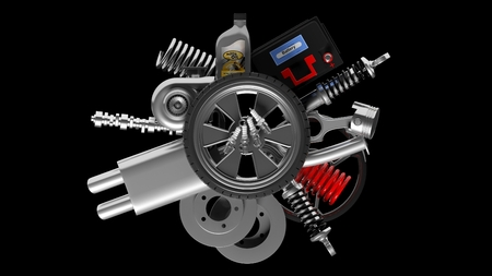 component: Various car parts and accessories, isolated on black background