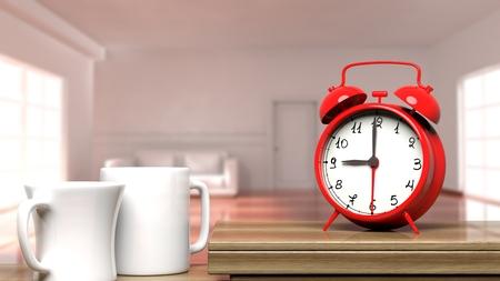 despertarse: Reloj de alarma retro del primer con dos tazas de café y el interior de la casa en el fondo.