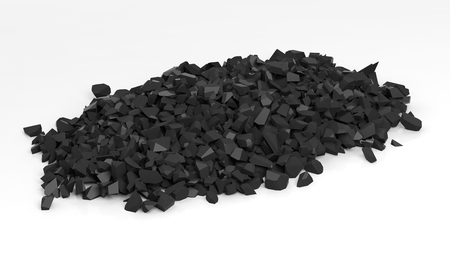 rock wall: Pile of shattered black pieces of stone, isolated on white background.