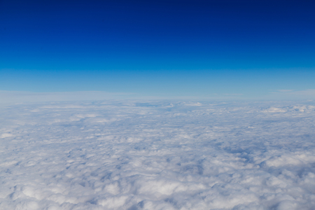 troposphere: Blue horizon and white clouds, aerial shot