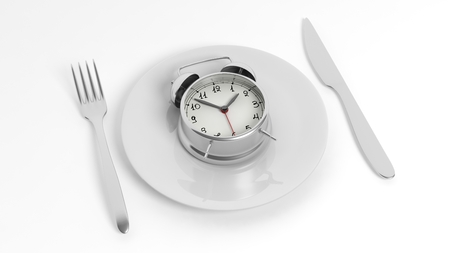 plato de comida: Alarm clock on plate with fork and knife, isolated on white background.